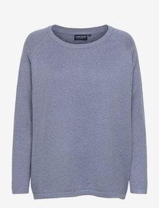 Lea Organic Cotton/Cashmere Sweater - truien - blue melange