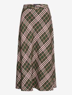Brielle Tencel Skirt - midi rokken - green multi check
