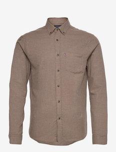 Peter Lt Flannel Shirt - podstawowe koszulki - brown melange
