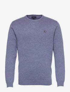Bradley Organic Cotton Crew Neck Sweater - truien met ronde hals - blue melange