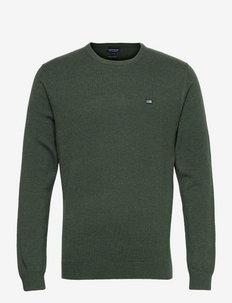 Bradley Organic Cotton Crew Neck Sweater - basic strik - green melange