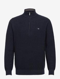 Clay Organic Cotton Half Zip Sweater - half zip - dark blue