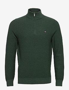 Clay Organic Cotton Half Zip Sweater - truien met halve rits - green melange