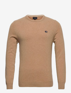 Hank Lambswool Blend Crew Neck Sweater - tricots basiques - beige melange