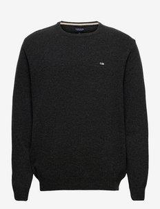 Hank Lambswool Blend Crew Neck Sweater - basic gebreide truien - dark gray melange