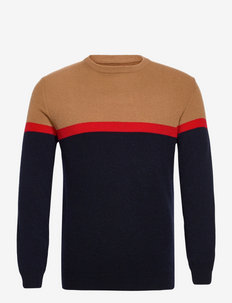 Ricardo Striped Lambswool Blend Crew Neck Sweater - truien met ronde hals - beige multi stripe