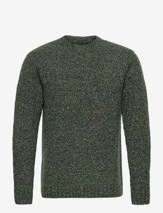 Antonius Boucle Sweater - basic strik - green melange