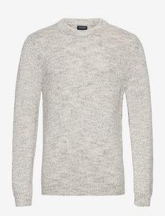 Albin Merino Wool/Cotton Blend Sweater - basic gebreide truien - light grey melange