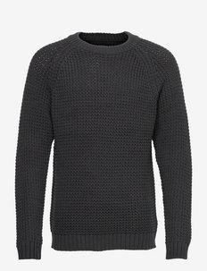 Daryl Crew Neck Sweater - basic strik - dark gray