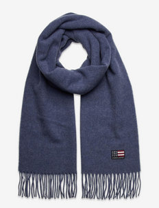 Massachussets Recycled Wool Blend Scarf - halsdukar - blue melange