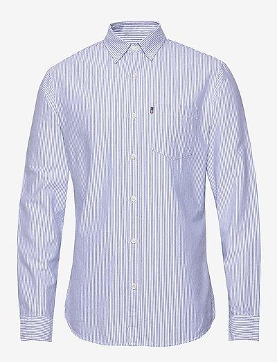 Kyle Organic Cotton Oxford Shirt - linneskjortor - blue/white stripe