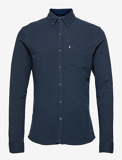 Brett Organic Cotton Pique Shirt - koszule w kratkę - dark blue