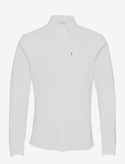 Brett Organic Cotton Pique Shirt - chemises à carreaux - white