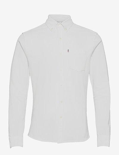 Brett Organic Cotton Pique Shirt - checkered shirts - white