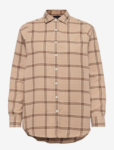 Isa Organic Cotton Flannel Shirt - long-sleeved shirts - beige multi check