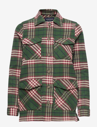 Raven Organic Cotton Flannel Overshirt - green multi check