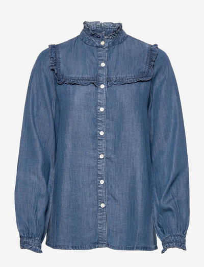 Jordan Lyocell Ruffle Blouse - langärmlige blusen - medium blue