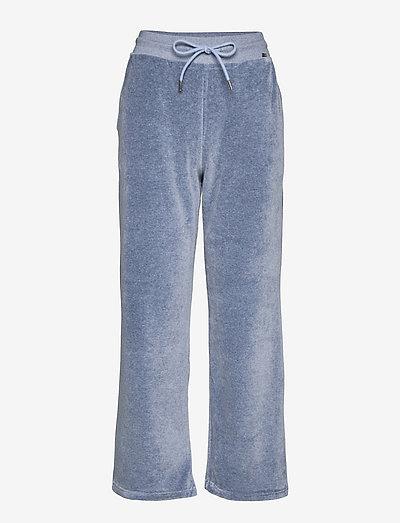 Leona Velour Pants - hosen casual - blue melange