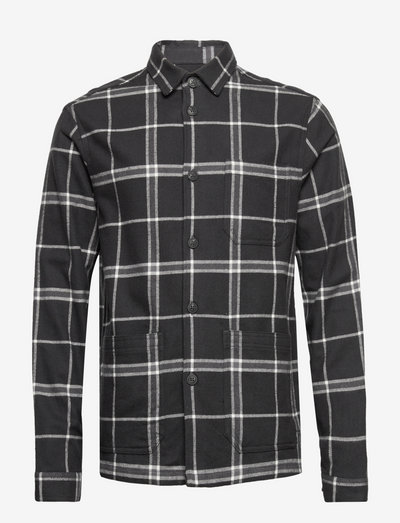 Robert Checked Overshirt - tops - gray multi check