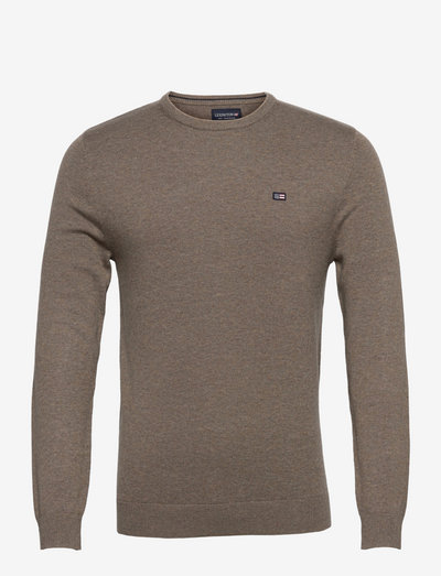 Bradley Organic Cotton Crew Neck Sweater - basic-strickmode - brown melange