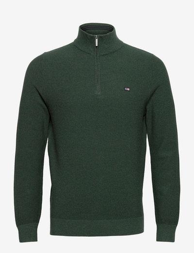 Clay Organic Cotton Half Zip Sweater - half zip - green melange