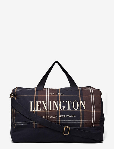 Franklin Organic Cotton Canvas Weekend Bag - gym bags - dark blue multi check