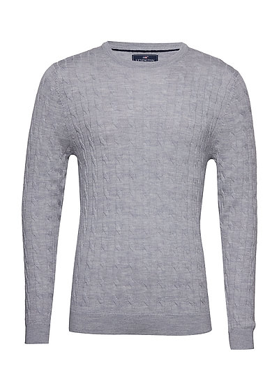Dominic Merino Cable Sweater - LT WARM GRAY MELANGE
