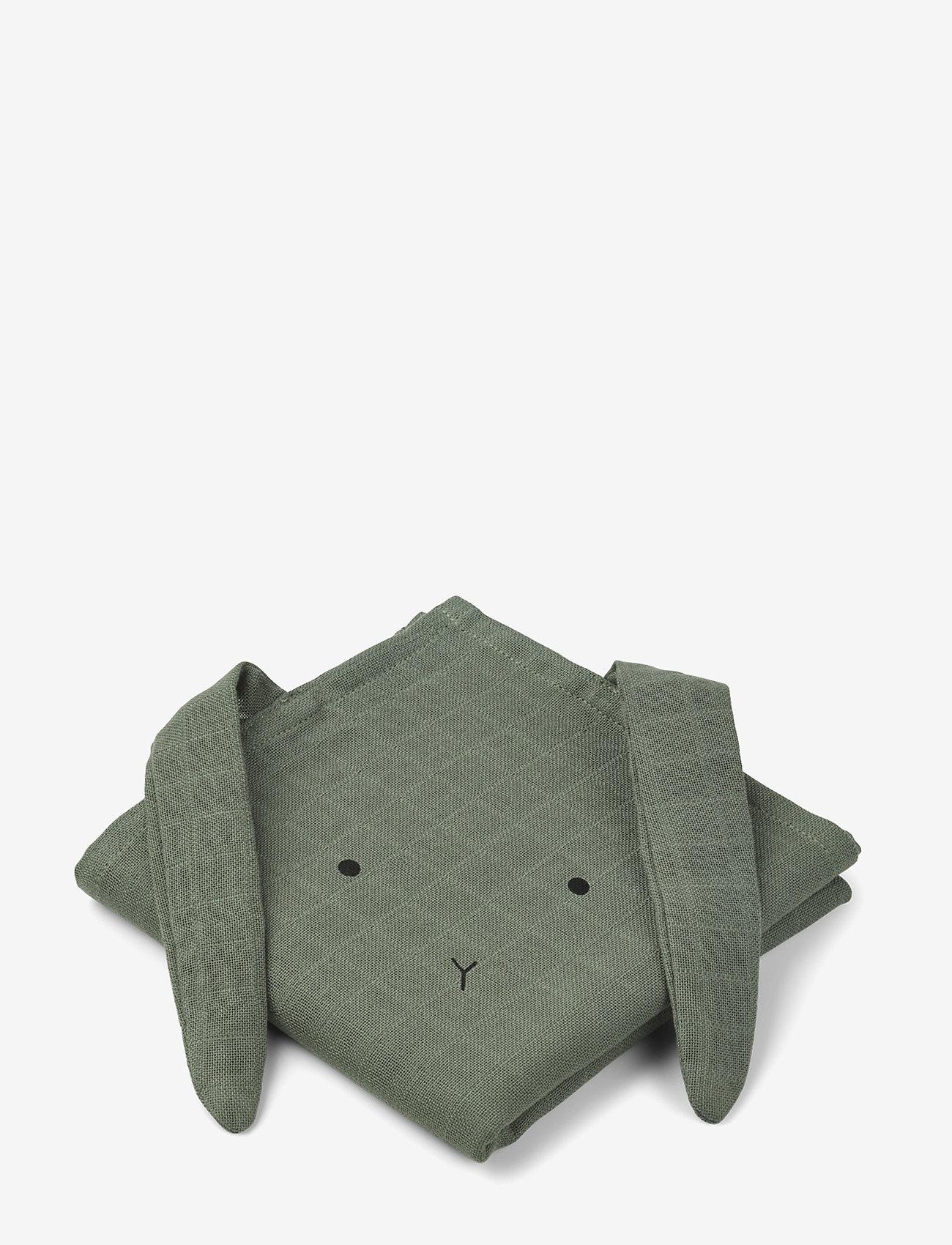 Liewood - Hannah muslin cloth rabbit 2 pack - akcesoria - rabbit faune green - 0