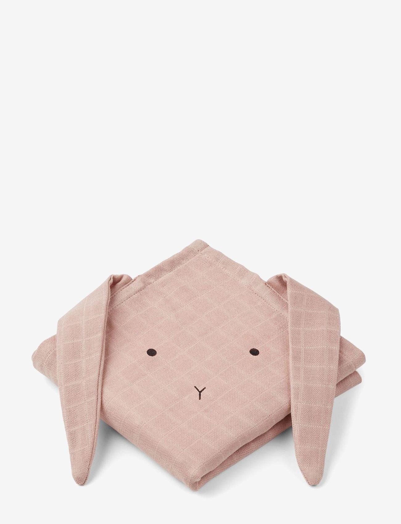 Liewood - Hannah muslin cloth rabbit 2 pack - pieluszki materiałowe - rabbit rose - 0