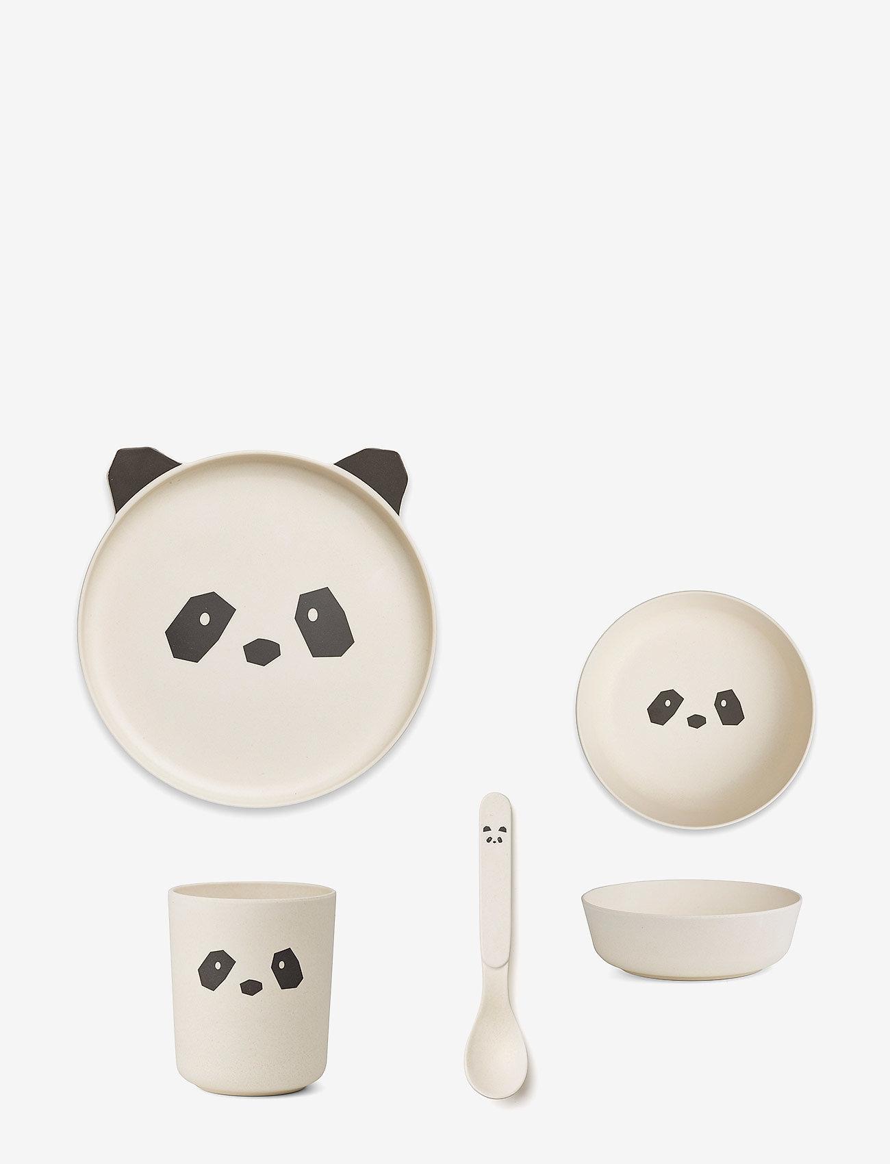 Liewood - Bamboo box set - zestawy obiadowe - panda creme de la creme - 0