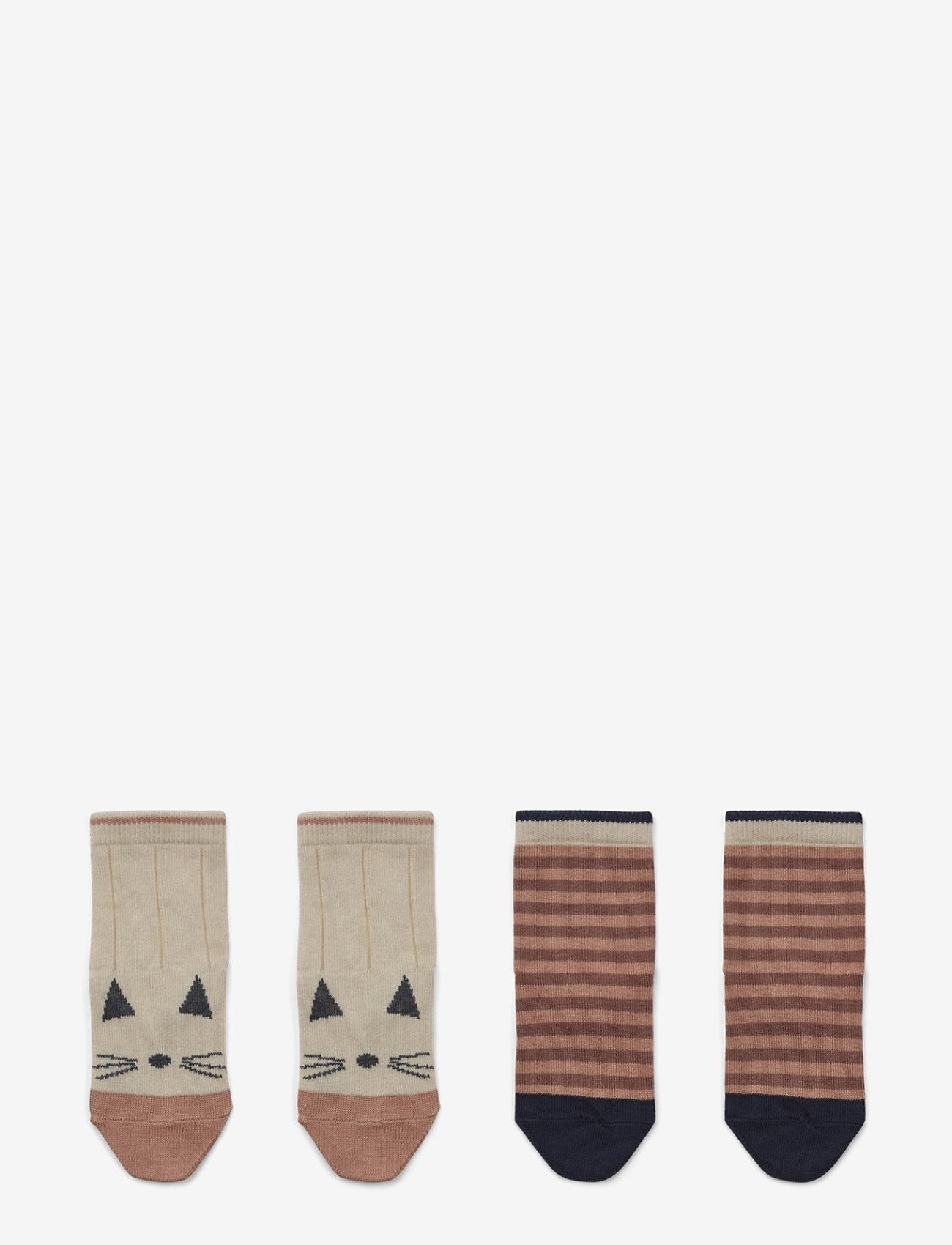 Liewood - Silas cotton socks - 2 pack - skarpetki - cat/stripe coral blush - 0