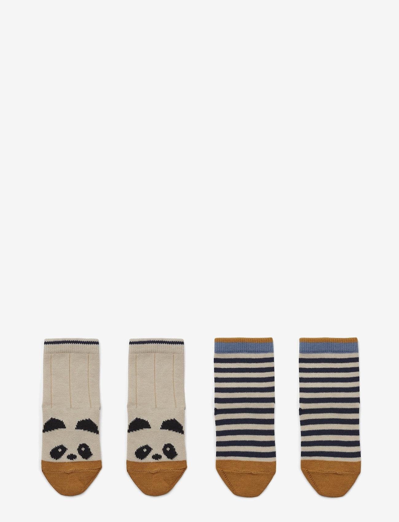 Liewood - Silas cotton socks - 2 pack - skarpetki - panda/stripe ecru - 0