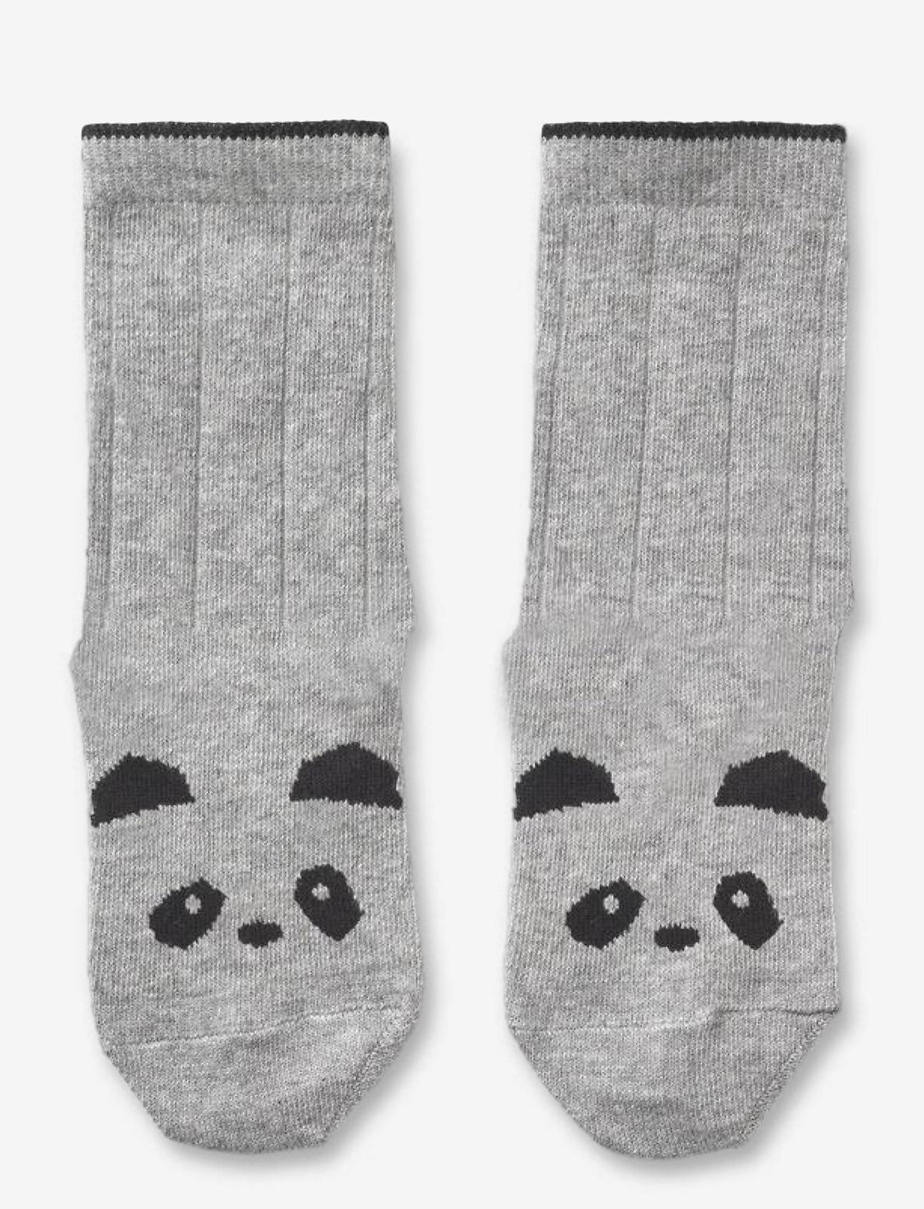 Liewood - Sofia cotton knee socks - 2 pack - skarpetki - panda grey melange - 0