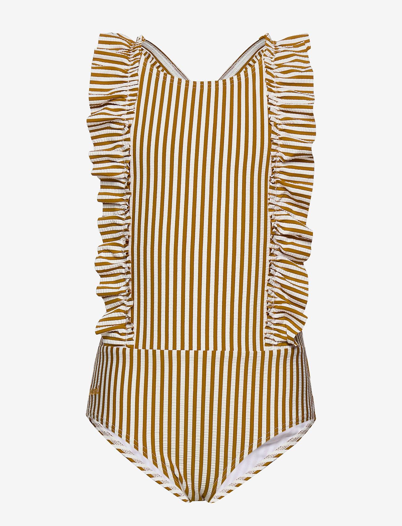 Liewood - Moa swimsuit seersucker - swimsuits - y/d stripe - 0
