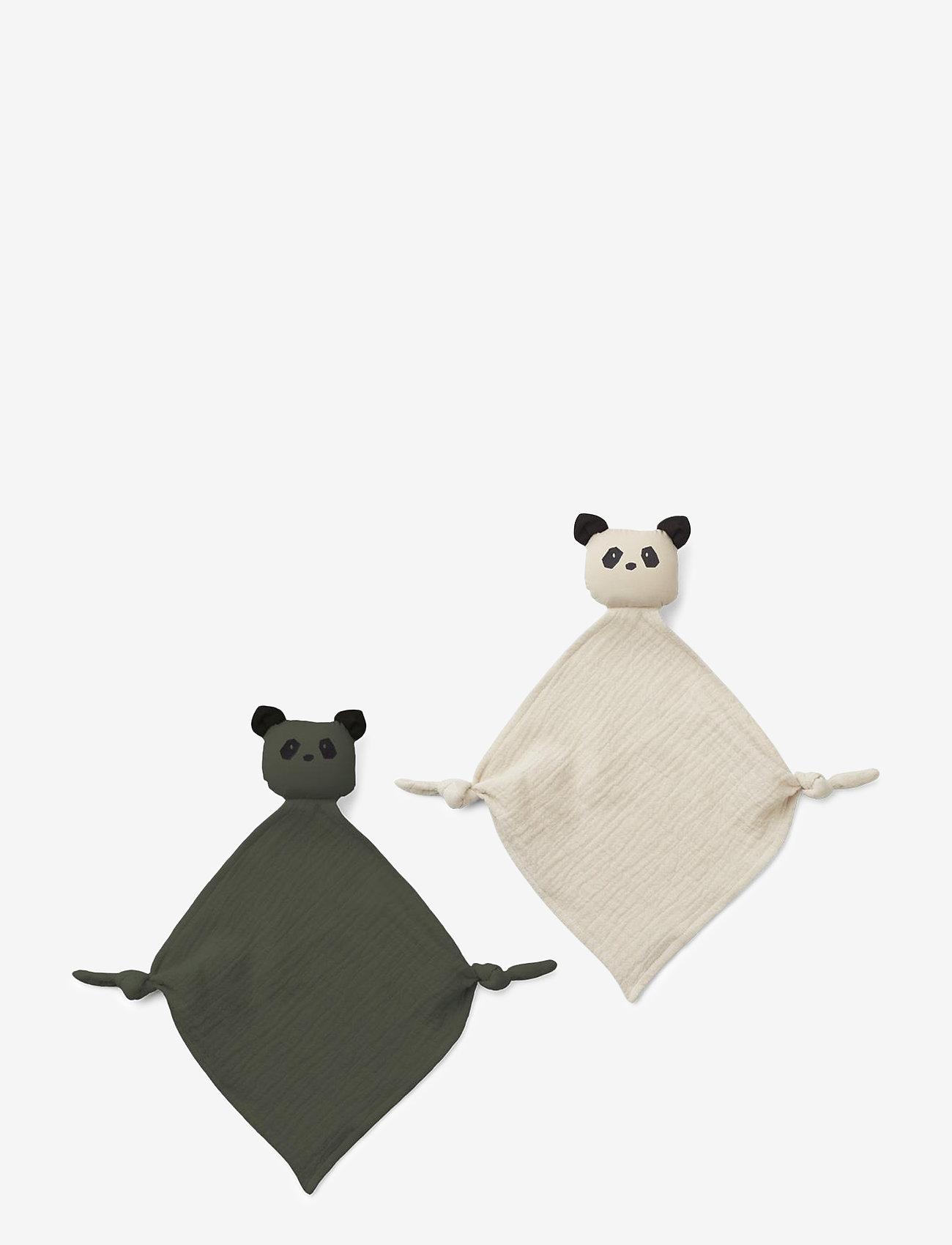 Liewood - Yoko mini cuddle cloth 2-pack - zabawki dla dzieci - panda hunter green/sandy mix - 0