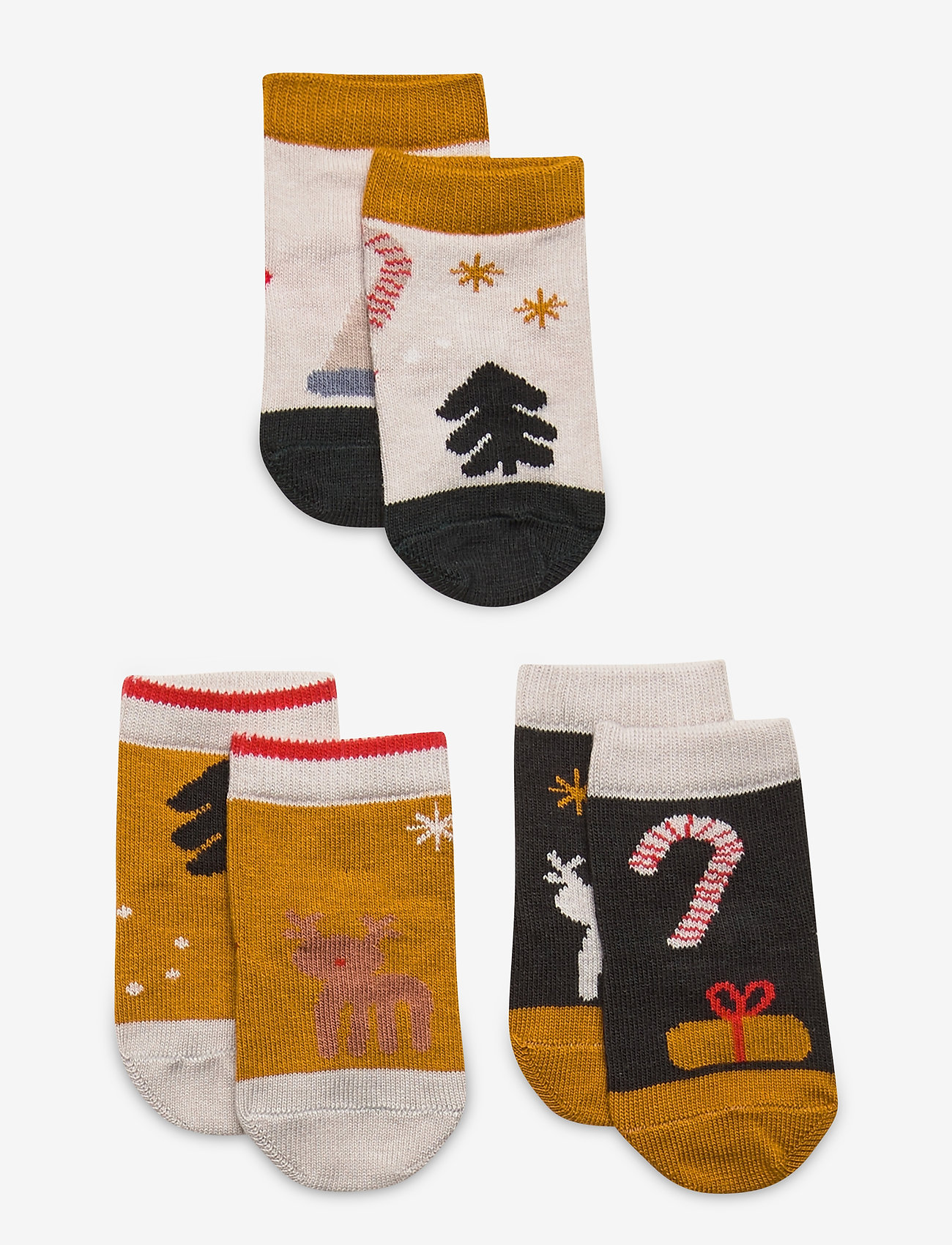 Liewood - Silas cotton socks - 3 pack - skarpetki - holiday hunter green multi mix - 0