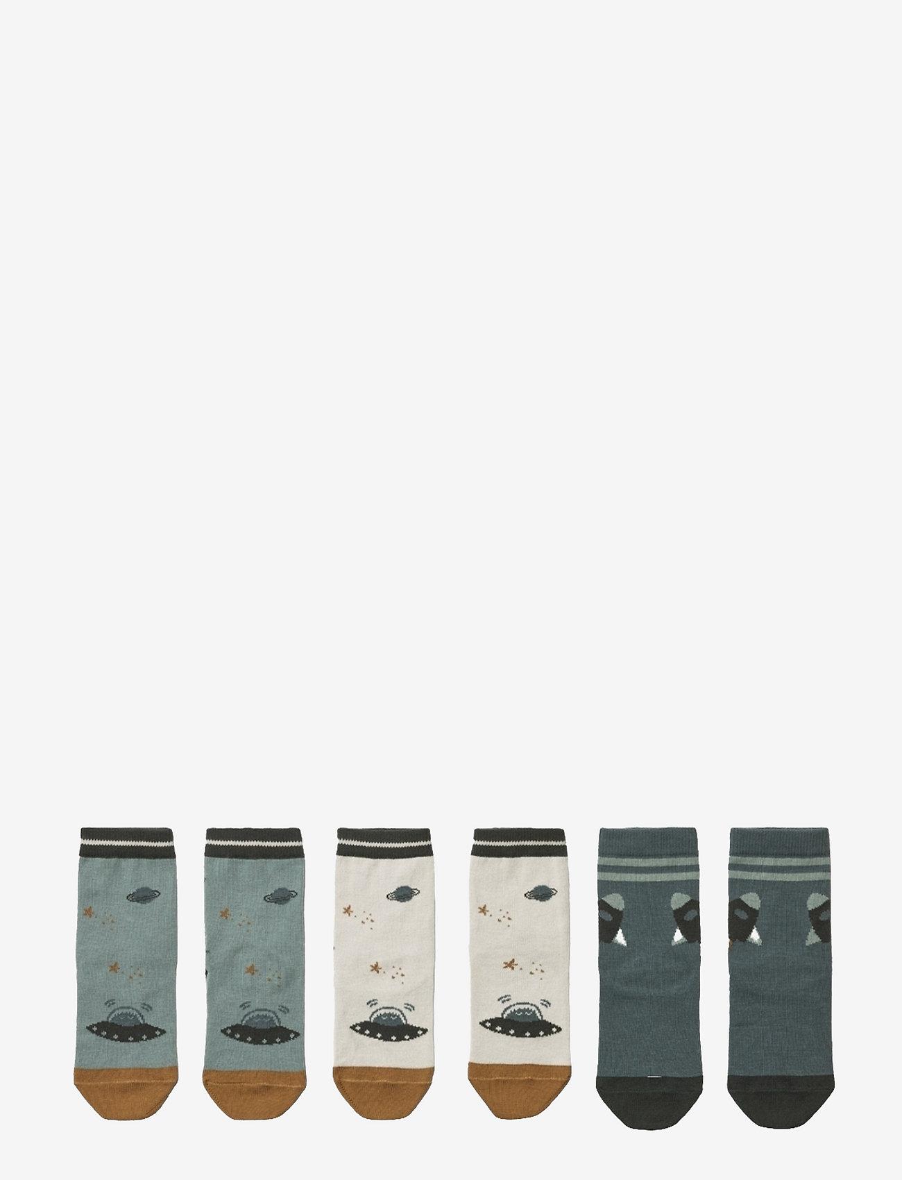 Liewood - Silas cotton socks - 3 pack - skarpetki - space blue mix - 1