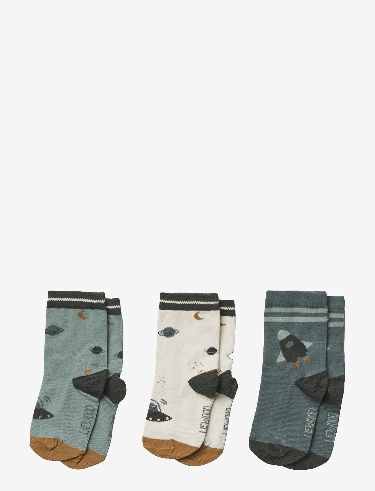 Liewood - Silas cotton socks - 3 pack - skarpetki - space blue mix - 0