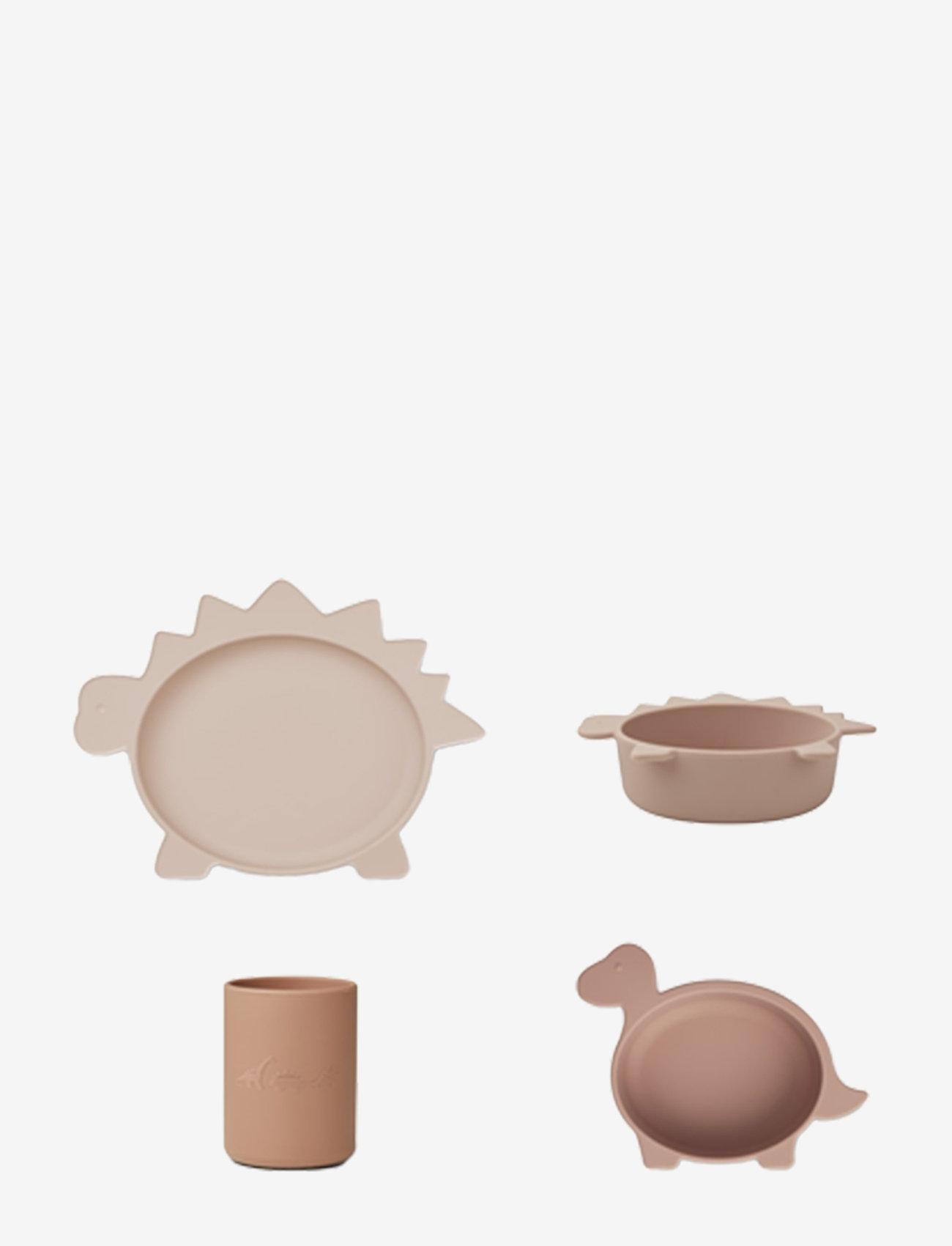 Liewood - Cyrus silicone junior set - zestawy obiadowe - dino rose multi mix - 0