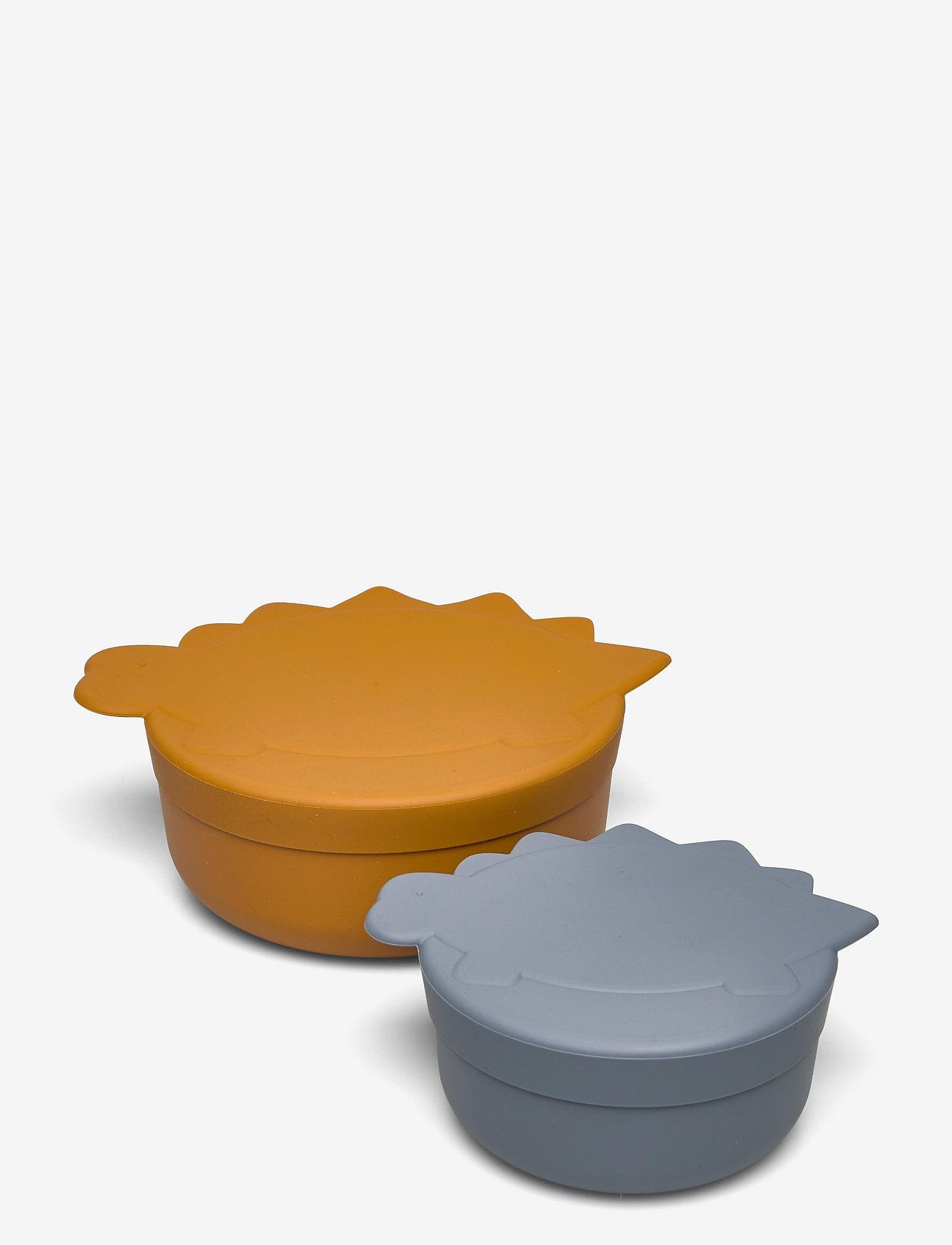 Liewood - Olav snack box - 2 pack - boîtes à lunch - dino blue wave/mustard mix - 0
