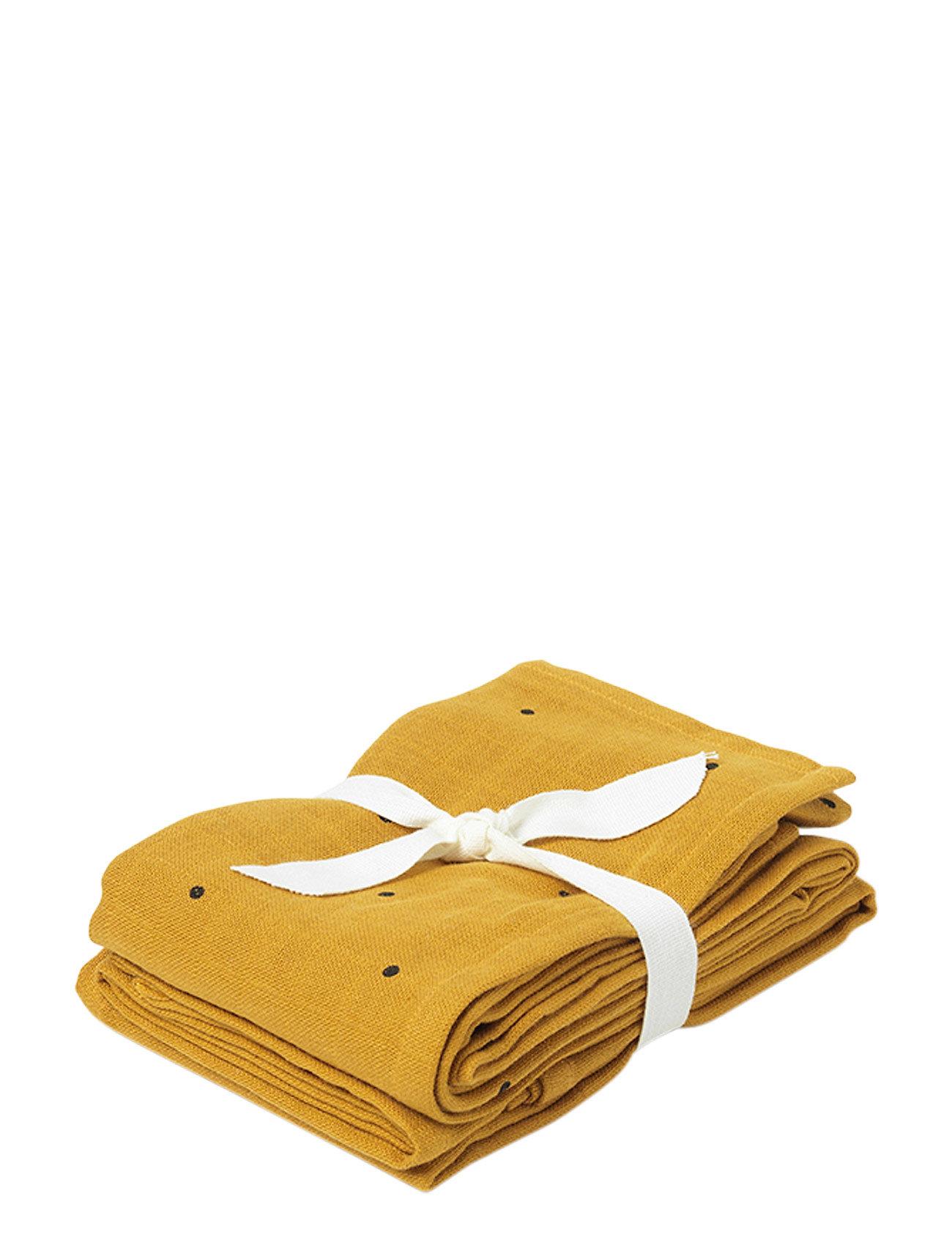 Liewood Hannah muslin cloth print 2 pack - CLASSIC DOT MUSTARD