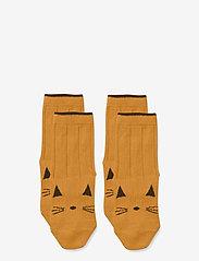 Liewood - Silas cotton socks - 2 pack - skarpetki - cat mustard - 0