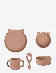 Liewood - Vivi silicone set - zestawy obiadowe - cat dark rose - 0