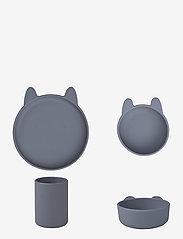 Liewood - Cyrus silicone junior set - zestawy obiadowe - rabbit blue wave - 0
