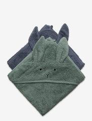 Albert hooded towel 2-pack - RABBIT BLUE MIX