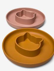 Liewood - Gordon plate 2-pack - assiettes et bols - cat dark rose/mustard mix - 1