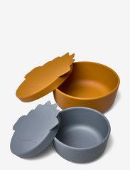Liewood - Olav snack box - 2 pack - boîtes à lunch - dino blue wave/mustard mix - 1