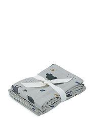Hannah muslin cloth print 2 pack - DINO DOVE BLUE MIX