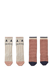 Sofia cotton knee socks - 2 pack - CAT/STRIPE CORAL BLUSH