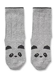 Sofia cotton knee socks - 2 pack - PANDA GREY MELANGE